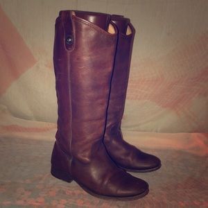 Frye Melissa Button Brown Leather Boots 7B